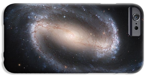 Moon Pyrography iPhone Cases - Spiral galaxy NGC1300 iPhone Case by Celestial Images