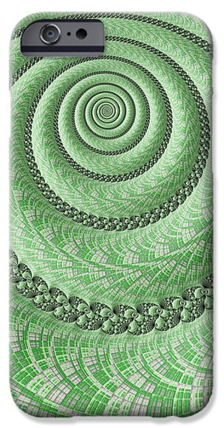 Fractal iPhone Cases - Spiral in Green iPhone Case by John Edwards