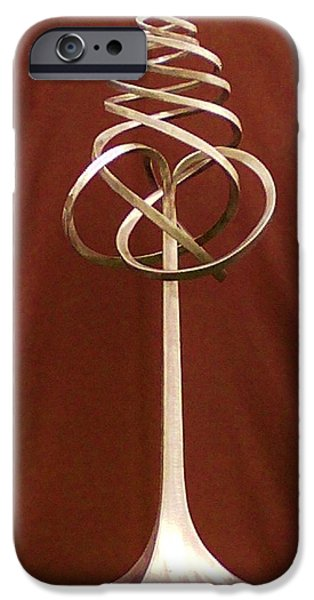Stainless Steel Sculptures iPhone Cases - Spiral Knot iPhone Case by Daniel Haynie