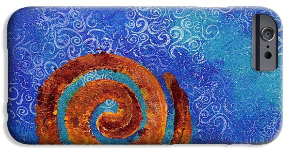 Spiral Mixed Media iPhone Cases - Spiral Series - Waterspiral iPhone Case by Moon Stumpp