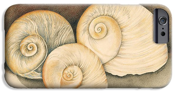 North Sea Drawings iPhone Cases - Spiral Siblings iPhone Case by Christel Williams