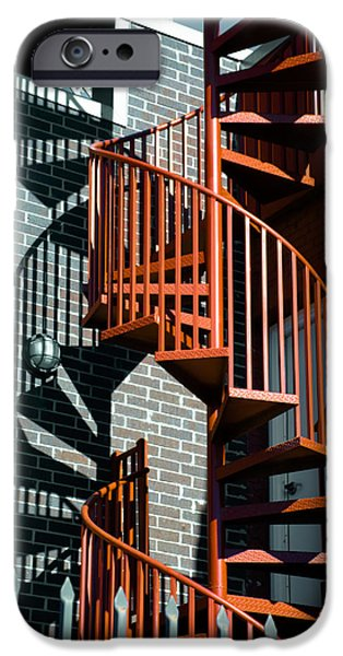 Staircase iPhone Cases - Spiral Stairs - color iPhone Case by Darryl Dalton