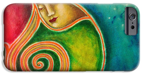 Merging Paintings iPhone Cases - Spiraling Inward iPhone Case by Annette Wagner