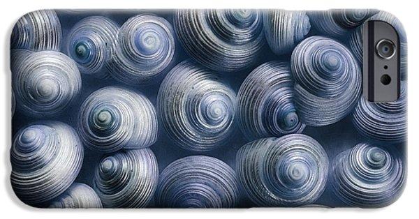 Sea Animals iPhone Cases - Spirals Blue iPhone Case by Priska Wettstein