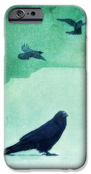 Totem iPhone Cases - Spirit Bird iPhone Case by Priska Wettstein