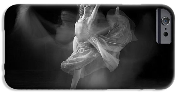 Ballet Dancers Photographs iPhone Cases - Spirit Dance in Black and White iPhone Case by Cindy Singleton