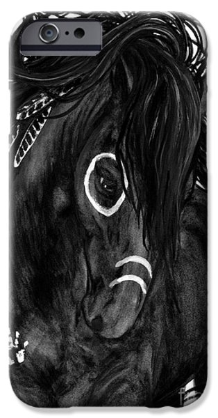 Majestic iPhone Cases - Spirit Feathers Horse iPhone Case by AmyLyn Bihrle