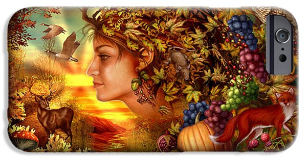 Surrealism Digital Art iPhone Cases - Spirit of Autumn iPhone Case by Ciro Marchetti