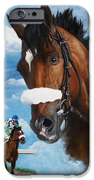 Horse Racing iPhone Cases - spirit of Barbaro iPhone Case by Pat DeLong