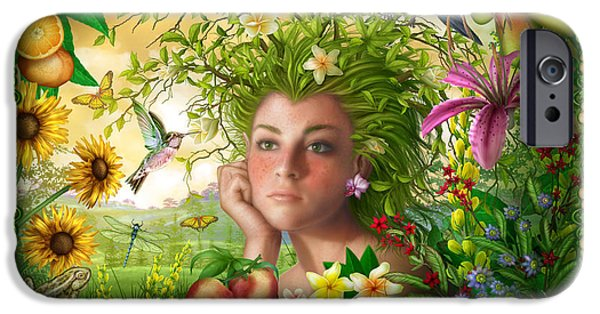 Surreal Illustration Digital iPhone Cases - Spirit of Summer iPhone Case by Ciro Marchetti