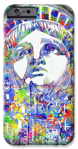 Statue Portrait iPhone Cases - Spirit Of The City 4 iPhone Case by MB Art factory