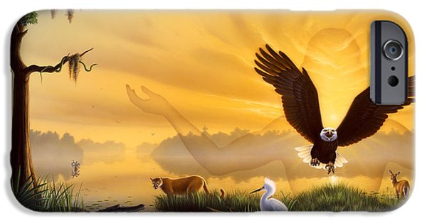 American Eagle Paintings iPhone Cases - Spirit of the Everglades iPhone Case by Jerry LoFaro