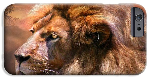 African Lion Art iPhone Cases - Spirit Of The Lion iPhone Case by Carol Cavalaris