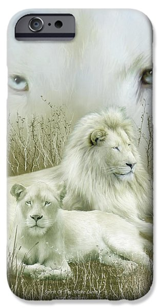 Lions Mixed Media iPhone Cases - Spirit Of The White Lions iPhone Case by Carol Cavalaris