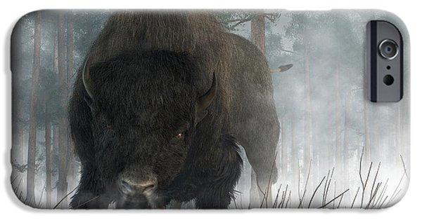 Bison Art iPhone Cases - Spirit of Winter iPhone Case by Daniel Eskridge