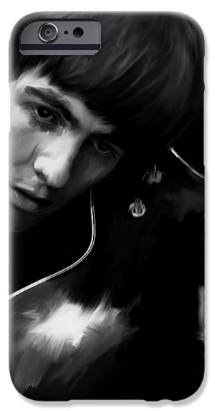 Beatles iPhone Cases - Spirit Play George Harrison iPhone Case by Iconic Images Art Gallery David Pucciarelli