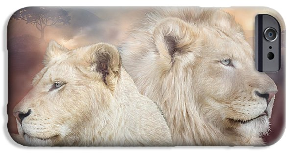Lion Print iPhone Cases - Spirits Of Light iPhone Case by Carol Cavalaris