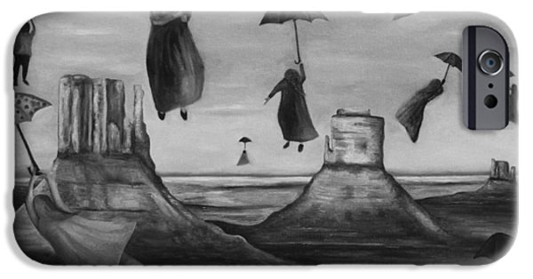 Night Angel Paintings iPhone Cases - Spirits Of The Flying Umbrellas BW iPhone Case by Leah Saulnier The Painting Maniac