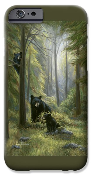 Black Bear iPhone Cases - Spirits of the Forest iPhone Case by Lucie Bilodeau