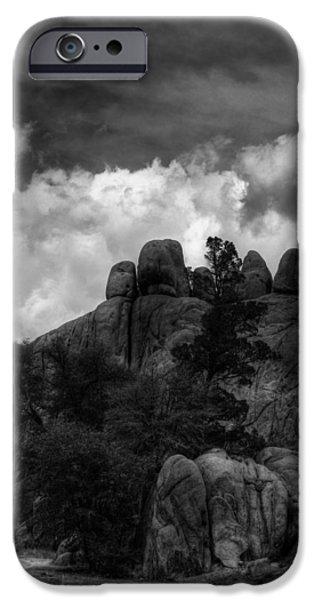 Watson Lake iPhone Cases - Spirits Stonehenge Monochrome iPhone Case by Wayne King