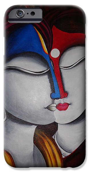 Merging Paintings iPhone Cases - Spiritual Fusion- Original Krishna and Radha Painting iPhone Case by Mrs Neeraj Parswal