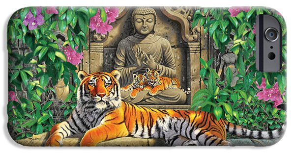 Animals Photographs iPhone Cases - Spiritual Hideaway - Tigers Variant 2 iPhone Case by Chris Heitt