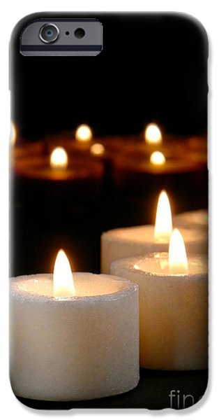 Spiritual Reflection Candles iPhone Case by Olivier Le Queinec