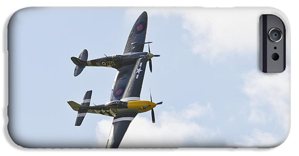 Ferocious Frankie iPhone Cases - Spitfire and Mustang Touching Wings iPhone Case by Maj Seda