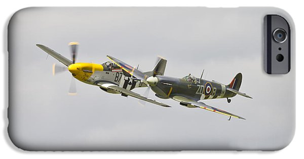 Ferocious Frankie iPhone Cases - Spitfire and P-51D Mustang iPhone Case by Maj Seda