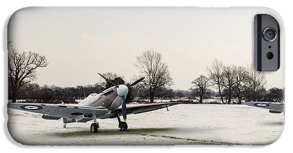 Snow Scene iPhone Cases - Spitfires in the snow iPhone Case by Gary Eason