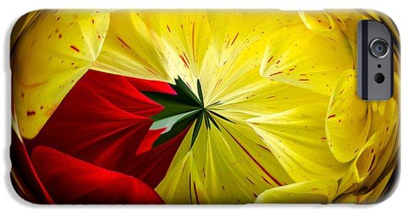 Floral Digital Art Digital Art iPhone Cases - Splash Of Red iPhone Case by Jordan Blackstone