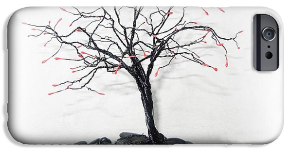Silver Sculptures iPhone Cases - Splash of Red iPhone Case by Joyce  McCormick-Mabry