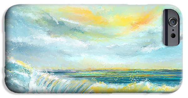 Abstract Seascape iPhone Cases - Splash Of Sun - Seascapes Sunset Abstract Painting iPhone Case by Lourry Legarde