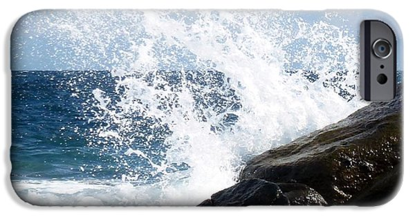 Drama iPhone Cases - Splash on Rock iPhone Case by Barbie Corbett-Newmin