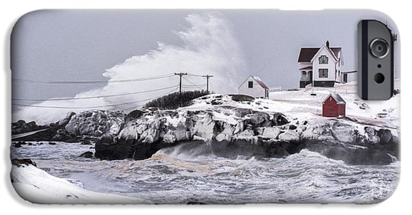 Nubble Lighthouse iPhone Cases - Splash over iPhone Case by Scott Thorp