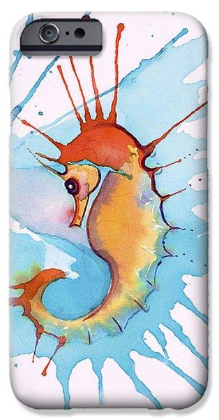 Sea Horse iPhone Cases - Splash Seahorse iPhone Case by Jane Wilcoxson