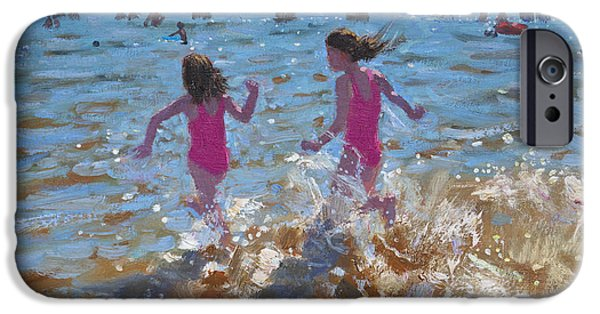 Bathing Paintings iPhone Cases - Splashing in the sea iPhone Case by Andrew Macara