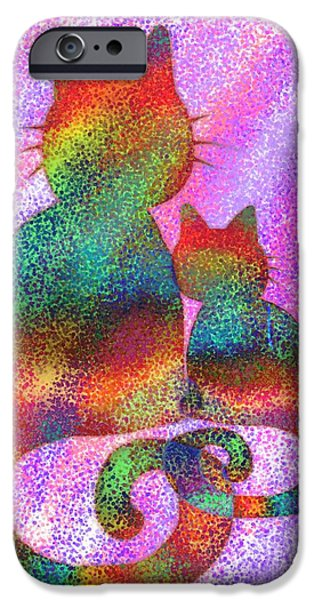 Vivid Drawings iPhone Cases - Splatter Cats 2 iPhone Case by Nick Gustafson