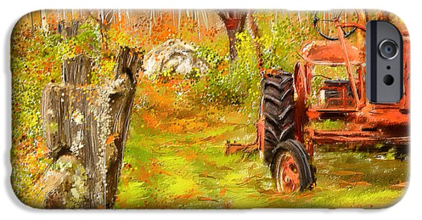 Fall Scenes iPhone Cases - Splendor of the Past - Red Tractor Art iPhone Case by Lourry Legarde