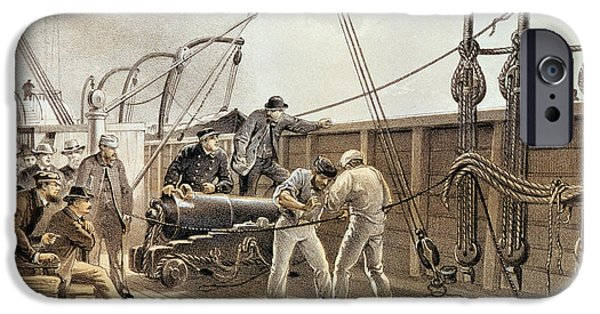 Mending iPhone Cases - Splicing The Trans-atlantic Telegraph Cable After The First Accident On Board The Great Eastern iPhone Case by Robert Dudley