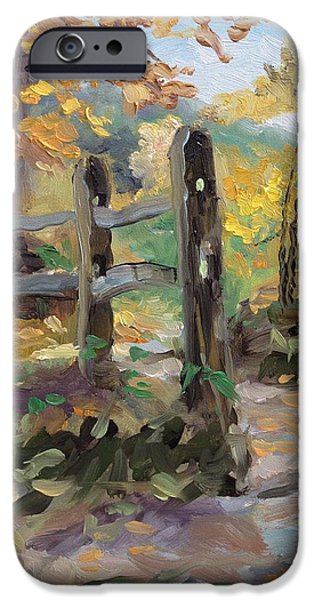 Indiana Autumn iPhone Cases - Split Rail Fence iPhone Case by Spencer Meagher