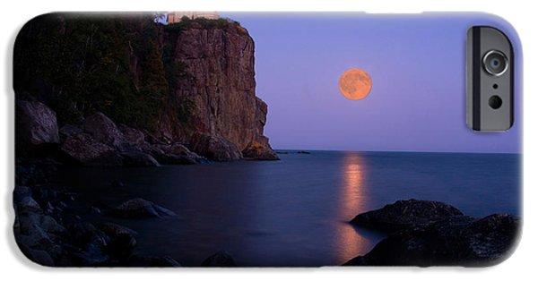 Minnesota iPhone Cases - Split Rock Lighthouse - Full Moon iPhone Case by Wayne Moran