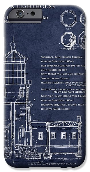 Lighthouse iPhone Cases - Split Rock Lighthouse blueprint art print iPhone Case by Sara Harris