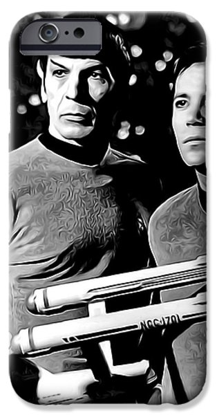 Drama Mixed Media iPhone Cases - SPOCK and CAPTAIN KIRK iPhone Case by Daniel Hagerman