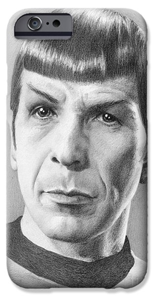 Enterprise Drawings iPhone Cases - Spock - Fascinating iPhone Case by Liz Molnar