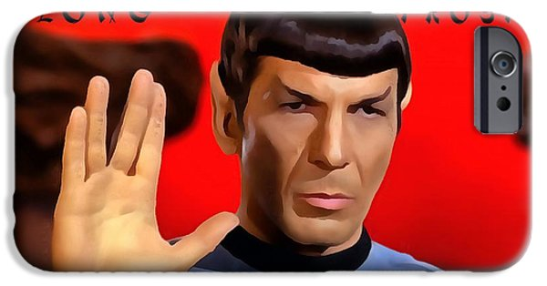 Man Cave Mixed Media iPhone Cases - Spock Live Long And Prosper iPhone Case by Dan Sproul