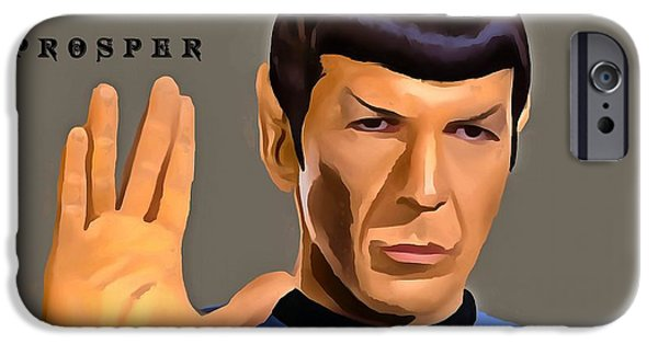 Enterprise Mixed Media iPhone Cases - Spock Live Long iPhone Case by Dan Sproul
