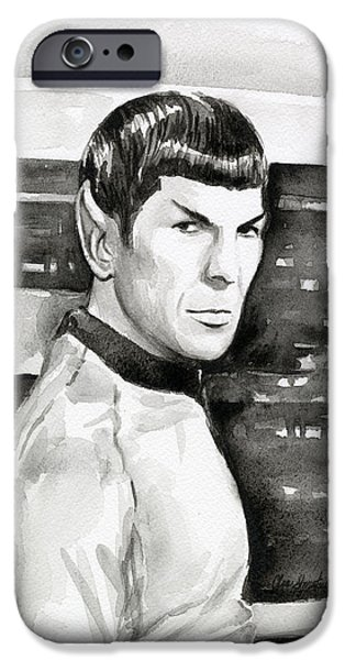 Fan Paintings iPhone Cases - Spock iPhone Case by Olga Shvartsur