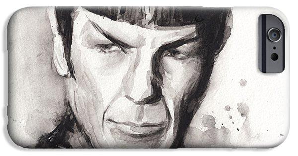 Science Fiction Paintings iPhone Cases - Spock Portrait Watercolor Star Trek Fan Art iPhone Case by Olga Shvartsur