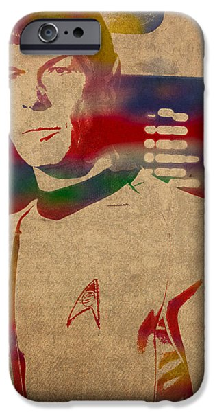 Science Fiction Mixed Media iPhone Cases - Spock Star Trek Leonard Nimoy Watercolor Portrait On Worn Distressed Canvas iPhone Case by Design Turnpike